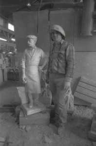 Master Sculptor Giuliano Cecchinelli with Italian Model circa 1985