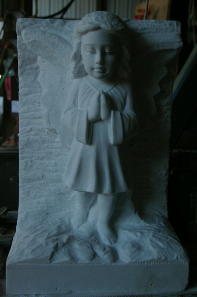 In-process view Carrara Marble Angel