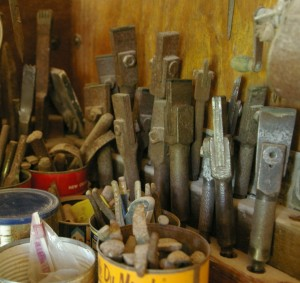 Pneumatic Bush Chisels for granite at Carolina Sculpture Studio